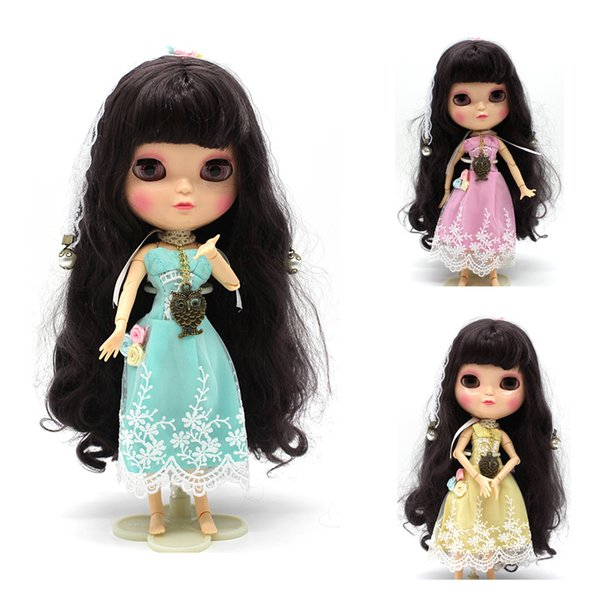 Subcluster 3 Pcs/Set Lace Dress Flower Doll Dress with Lace Headband Necklace For 1/6 Blyth Doll Accessories Doll Cloth
