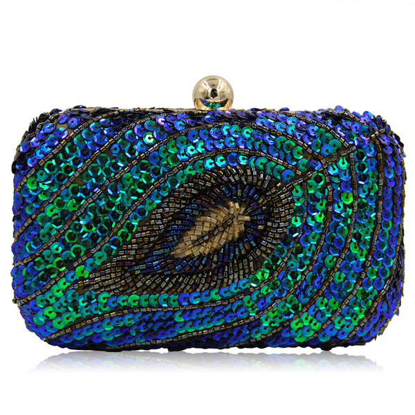 Women Clutch Bags Green Luxury Handbags Sequins Leaf Retro Evening Bag Wedding Bride Purse Ladies Small Crossbody Shoulder Bags