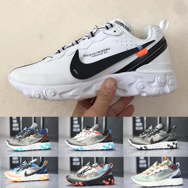 2019 React Element 87 Volt 55 Game Royal Taped Seams Running Shoes For Women men 55s Blue Chill Trainer 87s Sail Sports Sneakers