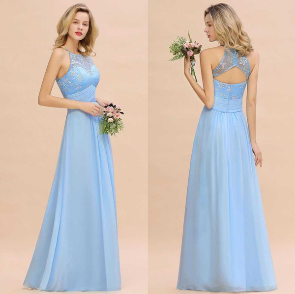 2020 Modest Sky Blue Halter A Line Bridesmaids' Dresses With Sash Lace Appliqued Simple Wedding Guest Gowns With Open Back