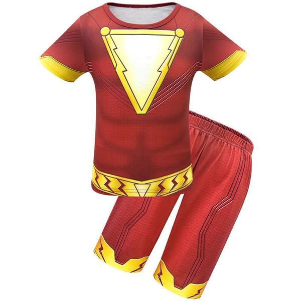 2019 Boys Shazam Costume Kids Superman Cosplay Children's Superhero Party Cosplay t-shirt+short pant summer set 1pcs