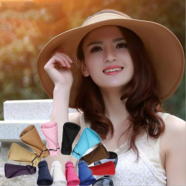 Women Foldable Straw Hats 17 Colors Beach Cap Outdoor Potable Floppy Visor Empty Top Wide Brim Hats OOA6961