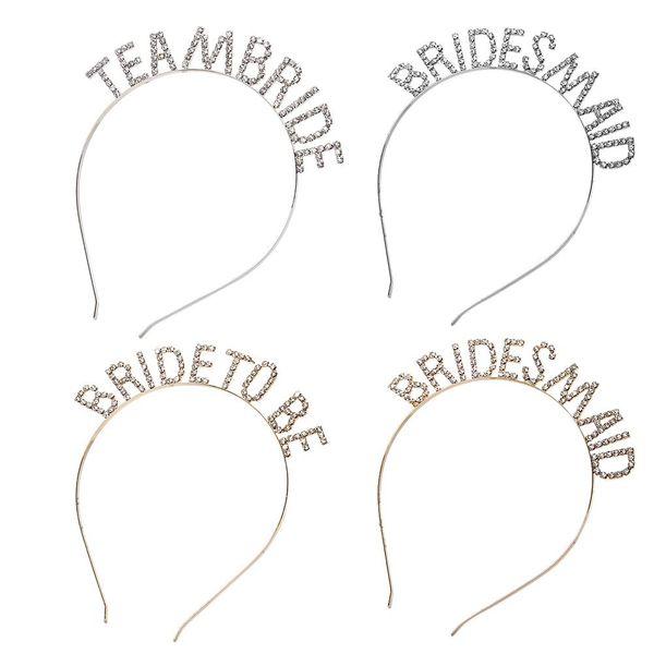 Accesorios para el cabello de la boda Equipo de oro Novia Dama de honor Despedida de soltera Despedida de soltera Fiesta de gallina Tiara Corona Regalos