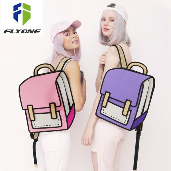 Flyone Fashion Cute Student Bags Women Backpack 3d Jump Style 2d Drawing Cartoon Back Bag Comic Unisex Knapsack Bolos Fy0189 Y19052202