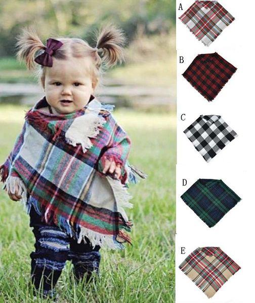 best selling 5 tyles Kids Plaid Blanket Scarves Tartan lattice Tassels Scarf Fashion Soft Neckerchief Spring Fall Baby Scarf Shawl