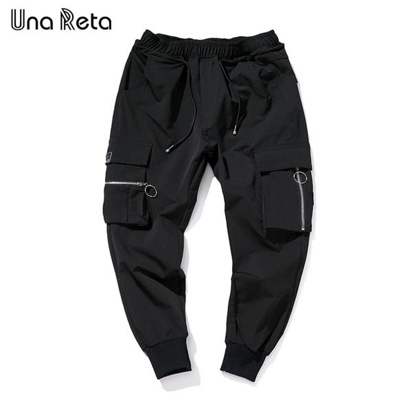 Una Reta Harem Pants 2018 New Black Mens tobillo-Longitud Moda diseño de bolsillo con cremallera Hip Hop Pantalones Pantalones casuales