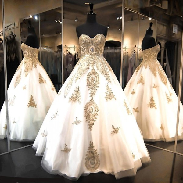 Ball Gown Quinceanera Dresses with Beaded Gold Lace Appliques Ball Gowns Prom Dresses Sweetheart Sweet 16 Pageant Evening Gowns