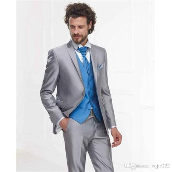 Nouvelle arrivée deux boutons gris argenté smux smokings cran revers garçons d'honneur mens mariage affaires costumes costumes (veste + pantalon + gilet + cravate) 257