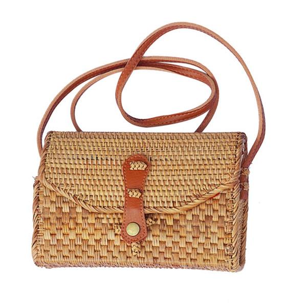 Wood Women Flap Shoulder Bag Solid Color Messenger Bags Hard Ladies Cover Shoulder Bag
