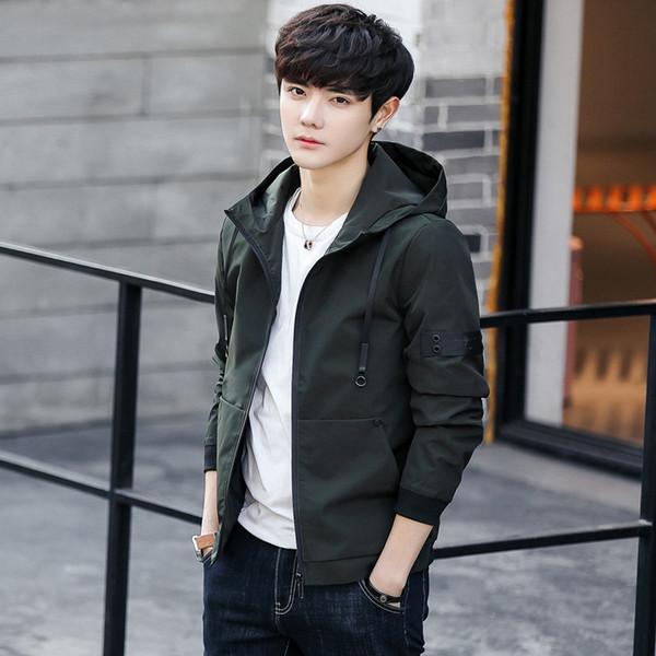 fabbadc38 2019 Primavera Nuevo patrón Chaqueta para hombre Adolescentes Tendencia  coreana Atractivo Joker Autocultivo Moda Hombre Escudo
