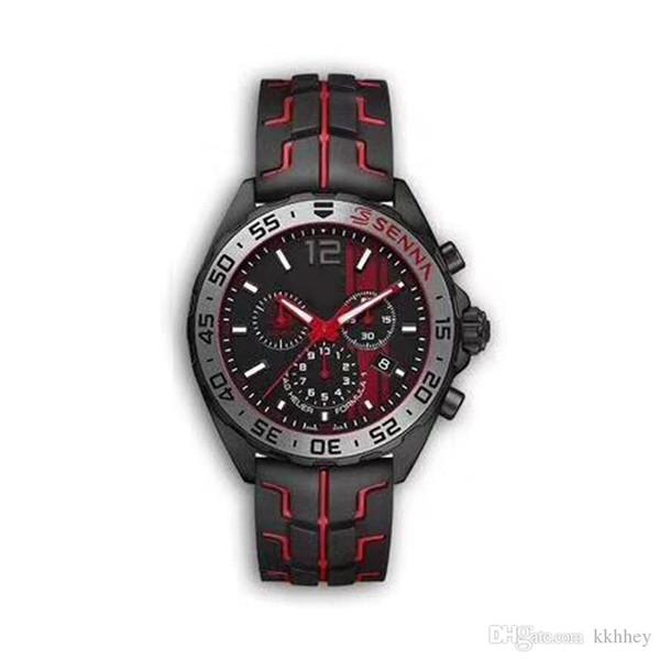 YENI lüks erkek saatler siyah çelik kasa kauçuk kayış F1 yarış izle spor kuvars Çok Fonksiyonlu chronograph takvim Saatı Montre