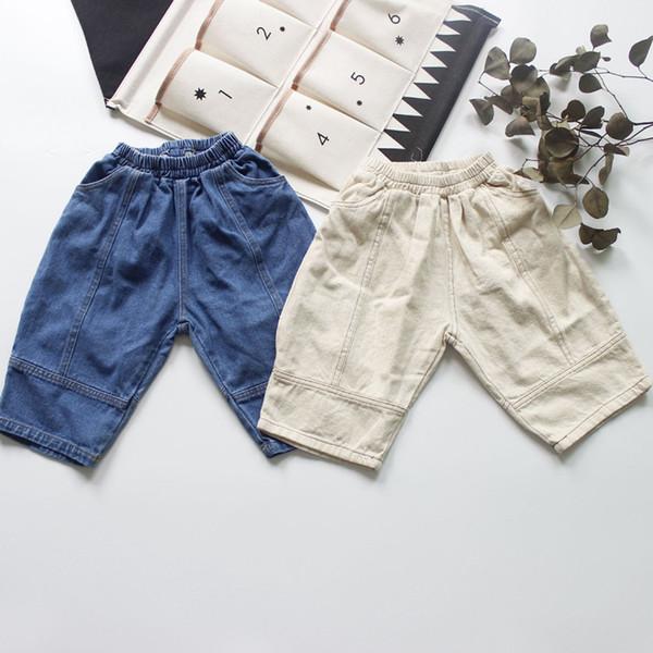 Koreanischen stil herbst neue baby jungen wadenlangen hose chidlren denim hose casual einfarbig kinder weiche jeans