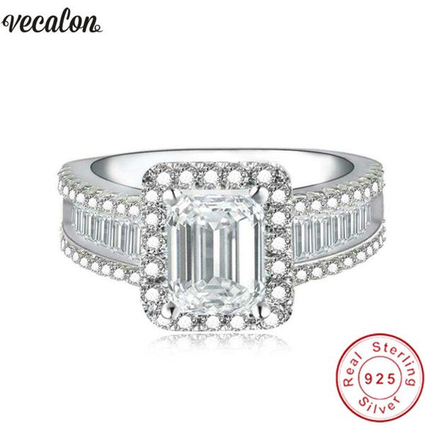 Vecalon Iconic Allure Promise Ring 925 anillo de bodas de plata de ley Baguette Diamond Engagement para la joyería de las mujeres