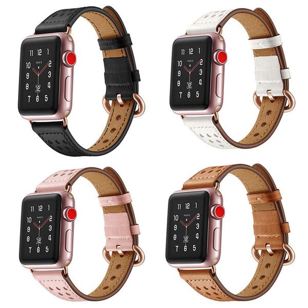 Correas de reloj Agujero para la cintura Primera capa Cuero de vaca Cuero genuino Hebilla de oro rosa Bandas de reemplazo para Apple Reloj 38 / 42mm Serie 4/3/2/1