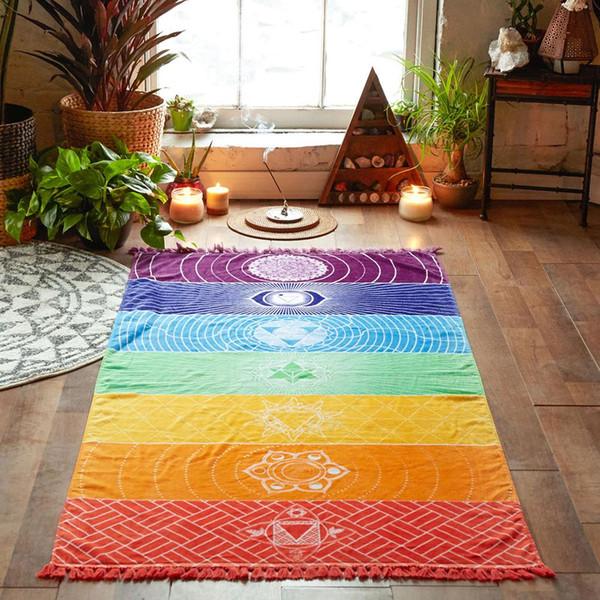 Salon Halılar Çok Amaçlı Halı Dekorasyonu Ev Perde için Yoga Yaşam Aksesuarları Gökkuşağı Totem Çok Renkli Halı Kilimler