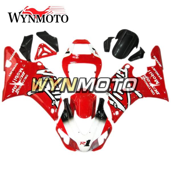Carrocería de motocicleta completa Nuevo carenado para Yamaha YZF1000 R1 1998 1999 Cuadros de carrocería de bicicleta completos R1 98 99 Cubiertas rojas blancas