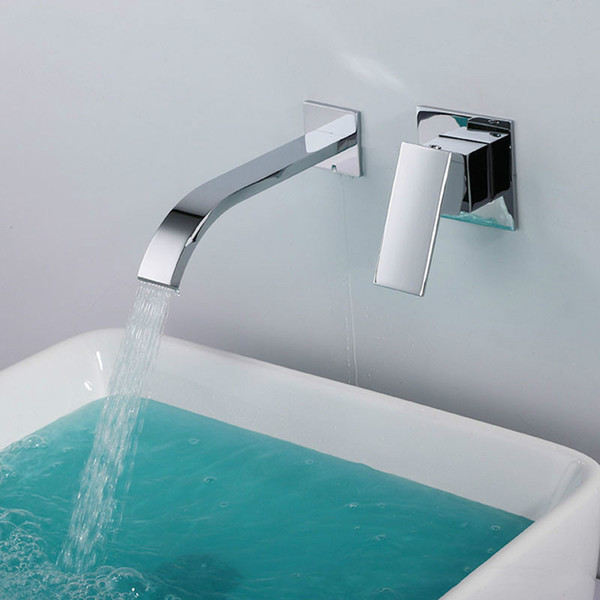 brass bathroom wall mounted waterfall faucet thickening chrome plated bathroom mixer sink faucet and cold water tap