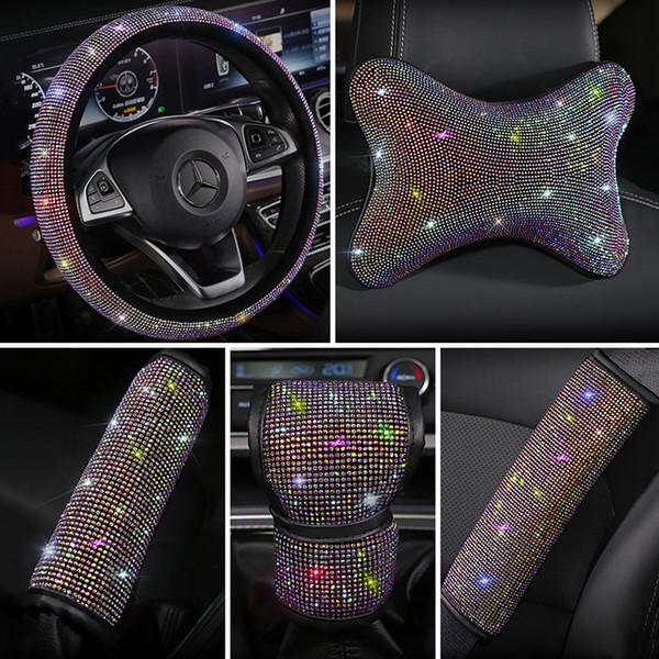 모조 다이아몬드 크리스탈 다채로운 럭셔리 자동차 좌석 벨트 커버 패드 스티어링 휠 커버 티슈 상자 자동차 인테리어 액세서리
