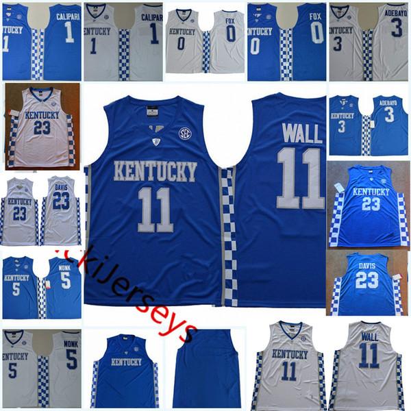 Kentucky Wildcats John Wall Basketball Jersey De'Aaron Fox John Calipari Edrice Adebayo Malik Monk Anthony Davis Kentucky Wildcats Jersey