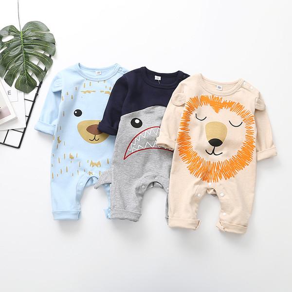Babyspielanzug Neugeborenen Jungen Mädchen Cartoon Tier Löwe Gedruckt Baumwolle Strampler Overall INS Neue Herbst Kinder Nette Langarm Kleidung