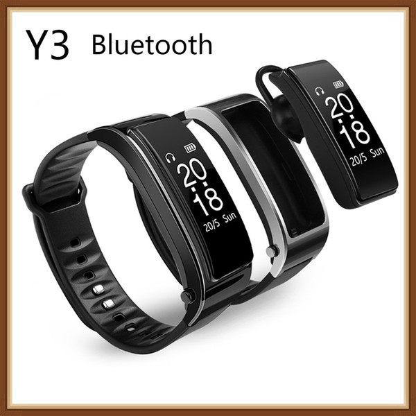 2018 neue für iphone samsung smartphones y3 smart watch armband 2 in 1 bluetooth kopfhörer headset herzfrequenzmonitor