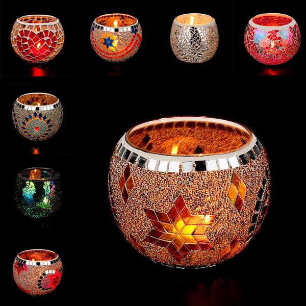 Handmade Mosaik Kristall Kronleuchter Hochzeit Ornamente für Geschenke Europäischen Mosaik Glas Kerzenhalter Hochzeit Hochzeitsdekoration Aussage Requisiten