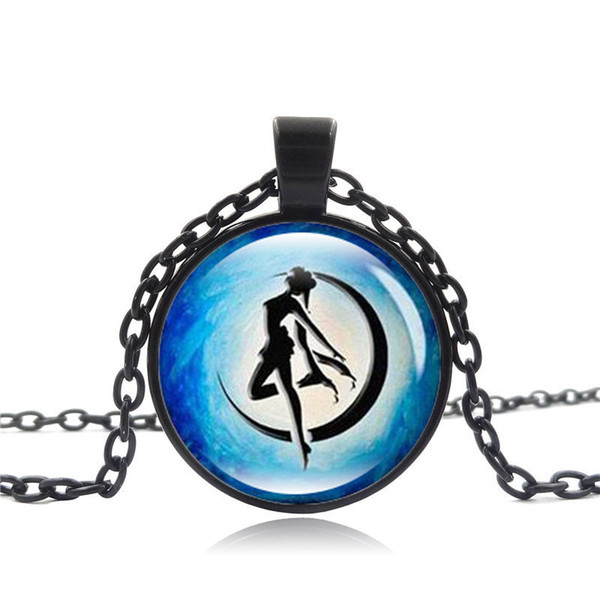 2019 New Fashion Pendant Necklace Accessories Sailor Moon Time Gemstone Necklace Fashion Jewelry Sweater Chain Wholesale