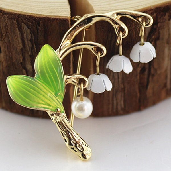 Enacolor Vivid Lily of the Valley Brooch Pin White Enamel Flower Bouquet Corsage Hijab Pin Clothing Accessories