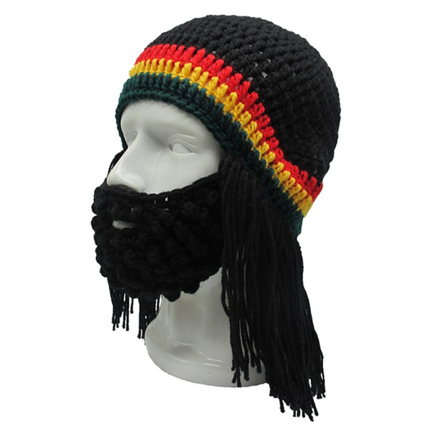 5fb20a16275 Knitted Wig Long Beard Viking Hat Unisex Winter Warm Creative Cosplay  Barbarian Beanie Funny Crazy Ski Mask Caps Funny Gift
