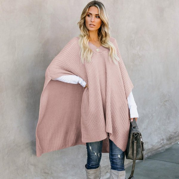 PEONFLY Women Sweaters Sleeveless Loose Cape New Style Tops Long Pullovers Spring 2019 Female Plus Size Knitting Shawl Clothes
