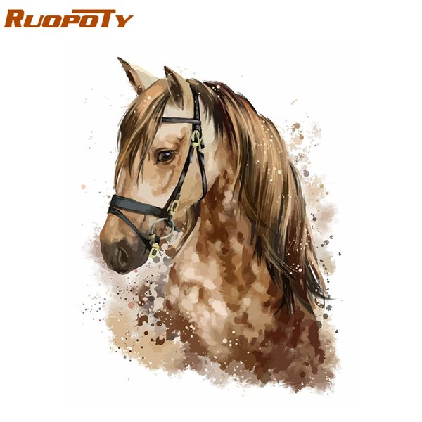 RUOPOTY Frame Horse DIY Painting By Numbers Animals Kit Coloring By Numbers Wall Art Picture Acrylic Paint On Canvas Home Decor