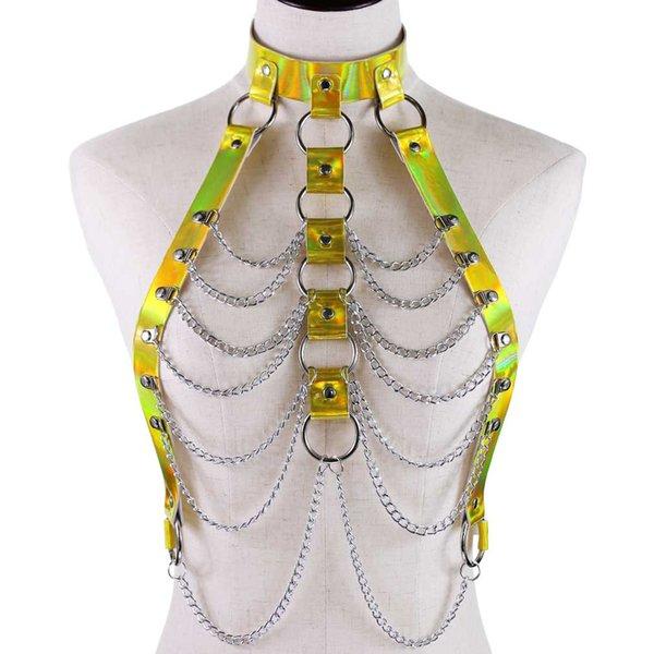 Annabelle Holographic Body Chain Harness Laser PU Cuoio Harness Cage Reggiseno Reggiseno Lingerie Body Bondage Top Punk Goth Metal Body Jewelry