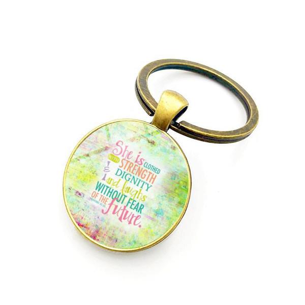New creative simple fashion car ornaments Christian Jesus time gem metal keychain handbags pendant small gifts wholesale