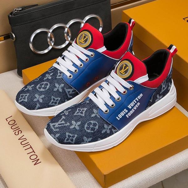 2019f мода роскошного мужская повседневная обувь, высококачественные мужские шнурки кроссовок, мужские кожаные кроссовки, оригинальная коробка упаковки оригинального логотипа