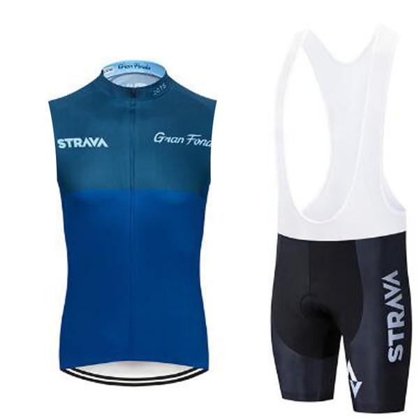 Strava 2019 hommes à vélo sans manches en jersey Cuissard Vêtements VTT Vélo Uniforme Porter Set Maillot cyclisme
