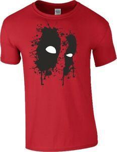 Deadpool 2 T Shirt Wade Horror Eyes Mask Ink Art Birthday Gift Mens Kids Top