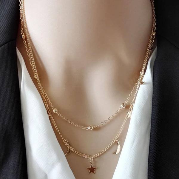M MISM Girls Fashion Star Moon Necklace Korean Styling Simple Gold Sliver Color clavicle Chain New Design Jewelry Accessories