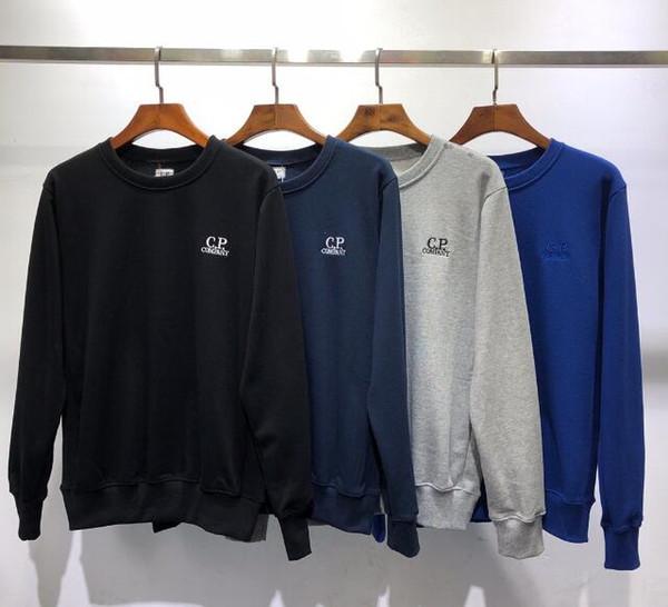 Tops de moda de calidad CP suéter para hombre, mujer, suéteres, logo, bordado, top, sudadera con capucha de algodón, cómodo, cuello redondo, EMPRESA, Tops, camisas