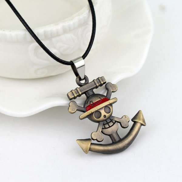 MOQ:10PCS Fashion Pendant Necklace ONE PIECE Anchor Logo Rope Chain Necklaces 3cm Hide Rope For Men Jewelry Accessories