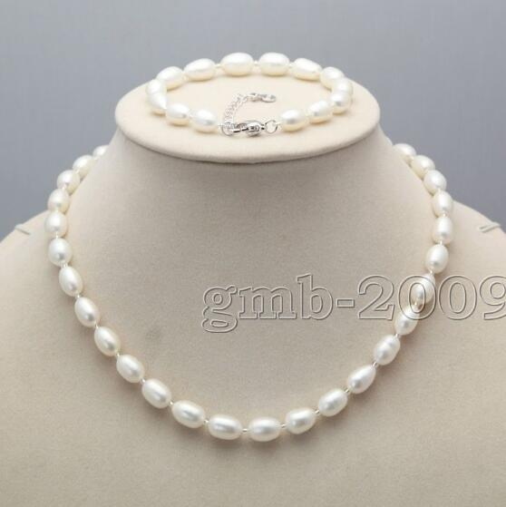 Jewelryr Pearl Set Genuine 7-8mm Natural Oval Akoya Freshwater Rice Pearl Necklace Bracelet Set Free Shipping