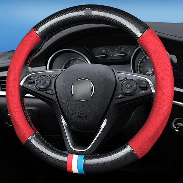 15 inch Carbon Fiber Red Leather Car Steering Wheel Cover upgrade For Buick