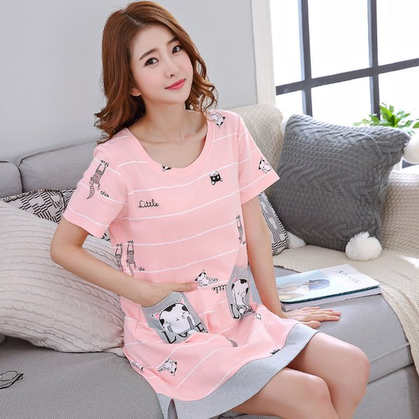 Summer Cotton Pijama Women Long Nightgown Short-sleeve Dress Cartoon Cute Summer Dress Lady's Sleepwear Home Clothes T190710