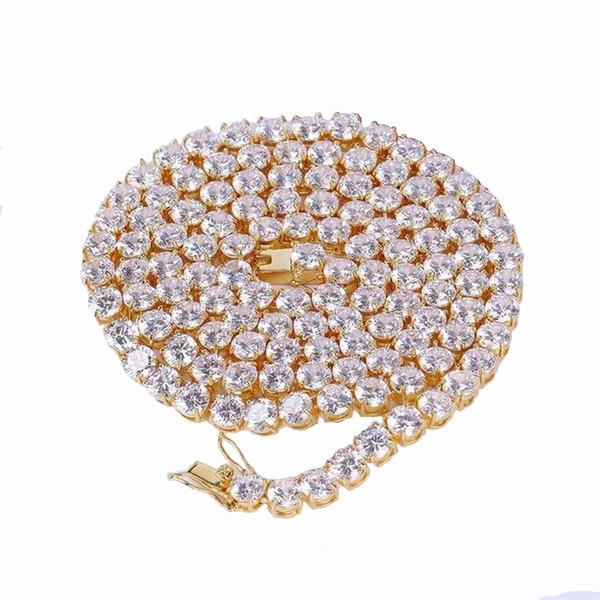 Diamante Cadena de tenis Collar Hip hop Joyería 6 mm Helado Zircon 1 Fila Oro Plata Material de cobre Hombres CZ Collar Enlace 24 pulgadas