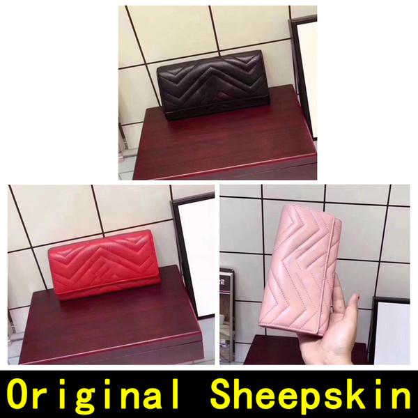 Cartera de diseñador Cartera de piel de oveja original Cartera de lujo de alta calidad Materiales de alta calidad Carteras de cuero genuino 5036 con CAJA