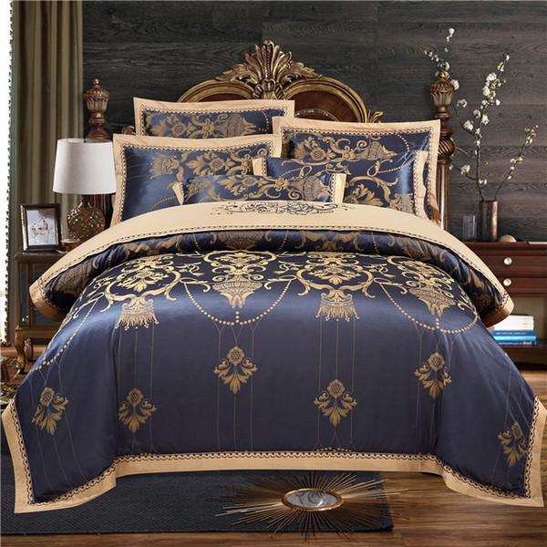 Cotton Flat/Bed sheet Fitted sheet Luxury Satin Jacquard Duvet Cover Queen King Bedding Set Bed set parure de lit ropa de cama