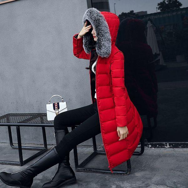 Kızlar Pamuk Uzun Bölüm Güzel Kış Yeni Kalın yastıklı Nagymaros Yaka İnce Aşağı Ve çift taraflı Wear