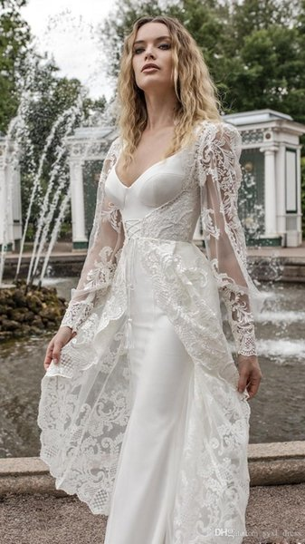 2019 Sexy A-Line Wedding Dresses Capped Long Sleeves Beach Bridal Gowns Plus Size Sheer Illusion Lace Appliques robes de soirée
