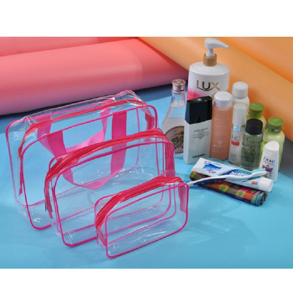4style 3pcs/Lot transparent clear makeup cosmetic bag handabg Zipper outdoor portable travel PVC wash waterproof zipper bag FFA2482