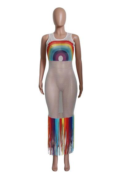 newSummer Women Mesh Dress Rainbow Long Tassels Hollow Out Dresses Sleeveless Beachwear Bikinis Coat Dresses Sexy Swimwear S-3XL