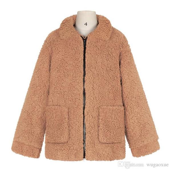 Женская куртка из искусственного меха Пушистый медвежонок на флисовой подкладке из искусственного меха с карманом на молнии с длинным рукавом повседневная уличная одежда зима Manteau Femme Hiver
